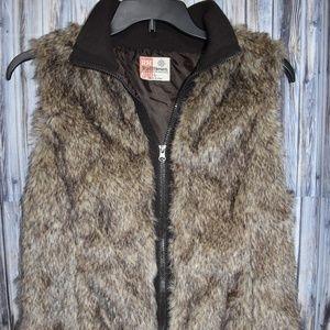 Ruff Hewn Faux Fur Vest Lined Brown L